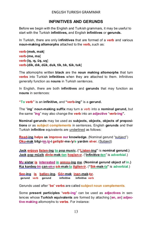 ENGLISH TURKISH GRAMMAR 14 fly-ing → uç-an, talk-ing → konuĢ-an, shin-ing → ıĢılda-/y/an, smil-ing → gülümse-/y/en, rise-i...