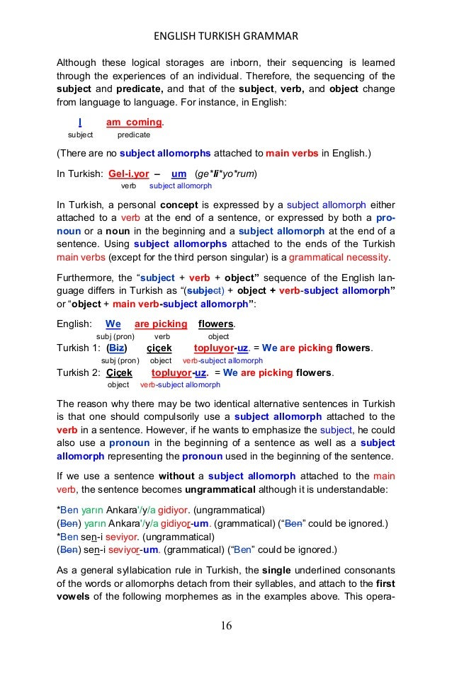ENGLISH TURKISH GRAMMAR 17 tion of the oral sequence of the Turkish language transposes the mor- phemic sequence to produc...