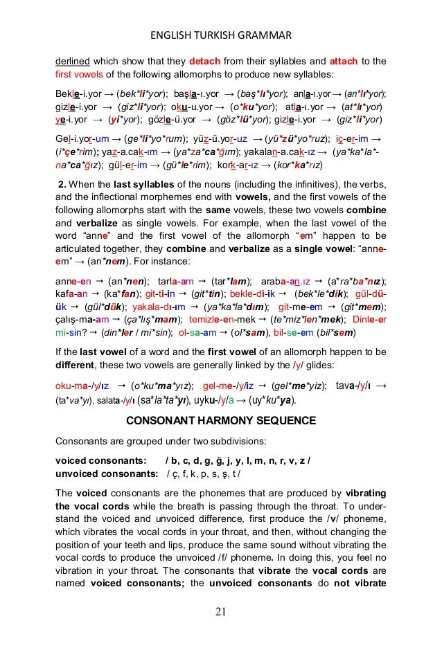 ENGLISH TURKISH GRAMMAR 22 them. By the way, one should keep in mind that all vowels and voiced con- sonants vibrate the v...