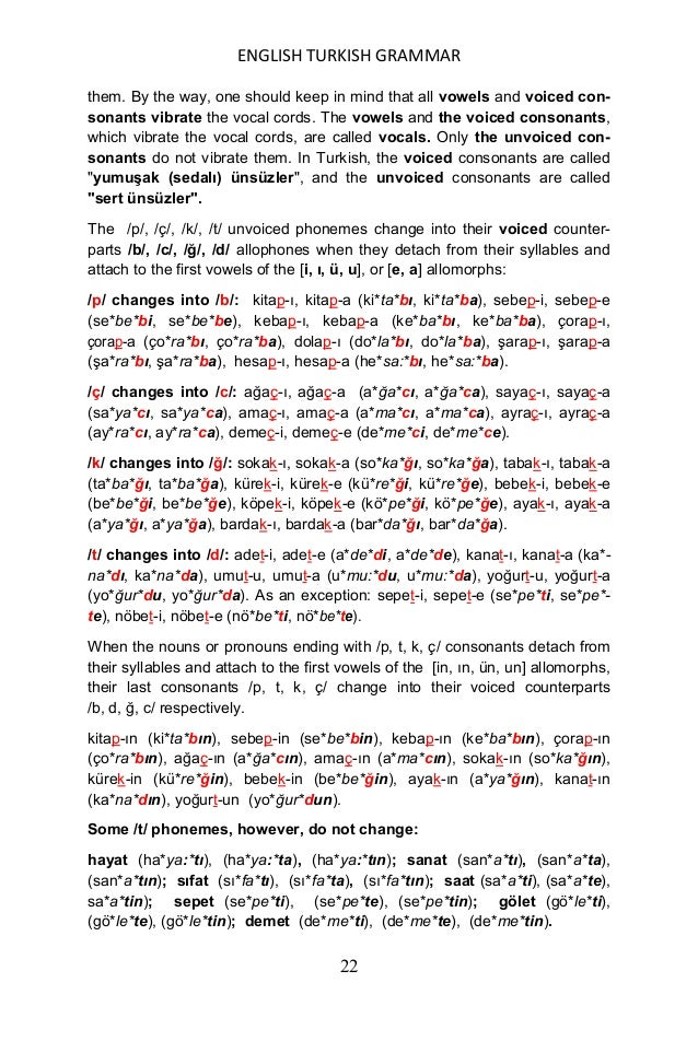 ENGLISH TURKISH GRAMMAR 23 The monosyllabic noun roots ending with unvoiced consonants do not change when they get the [Ġ]...