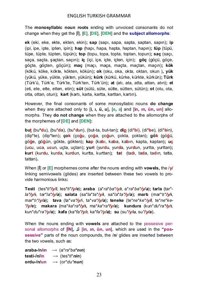 ENGLISH TURKISH GRAMMAR 24 öykü-/n/ün ⟶ (öy*kü*nün) sergi-/n/in ⟶ (ser*gi*nin) kafa-/n/ın ⟶ (ka*fa*nın) makara-/n/ın ⟶ (ma...