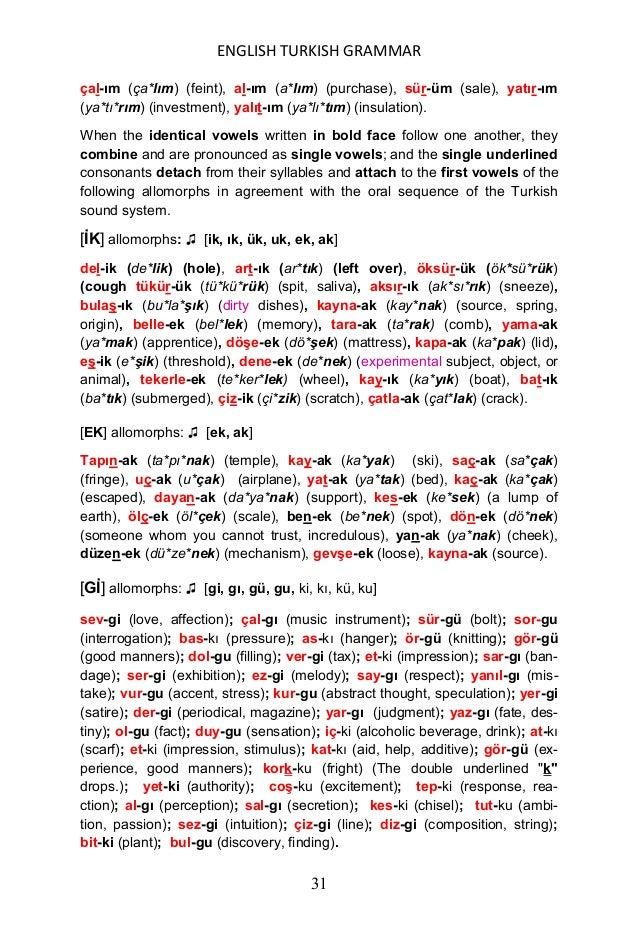 ENGLISH TURKISH GRAMMAR 32 [EÇ] allomorphs: ♫ [eç, aç] sür-eç (sü*reç) (process, procedure), tık-aç (tı*kaç) (plug, wag, s...