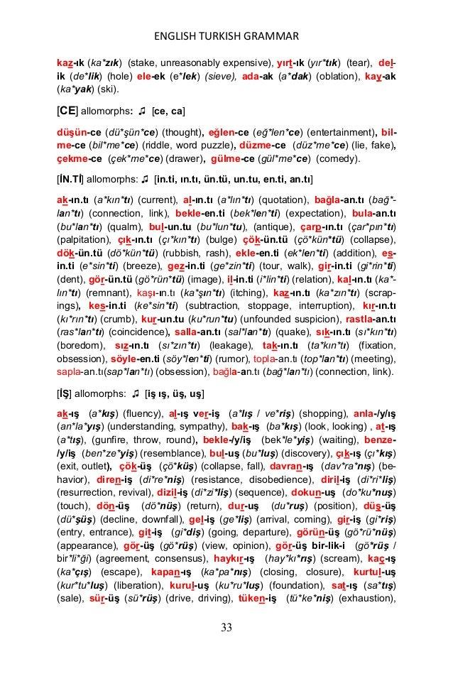 ENGLISH TURKISH GRAMMAR 34 yakar-ıĢ (ya*ka*rış) (appeal), yalvar-ıĢ (yal*va*rış) (beseeching), yüksel- iĢ (yük*se*liş) (ri...