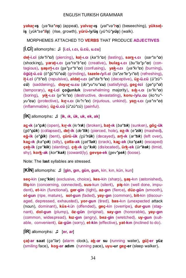 ENGLISH TURKISH GRAMMAR 35 [EN] allomorphs: ♫ [en, an] koĢ-an (ko*şan) (running), sol-an (so*lan) (fading), çalĢ-an (ça*lı...