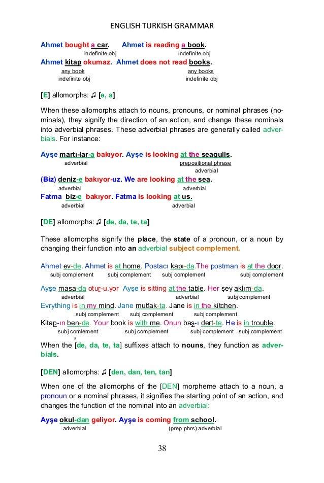 ENGLISH TURKISH GRAMMAR 39 Öğretmen pencere-den bakıyor. The teacher is looking out of the window. adverbial (prep phrs) a...