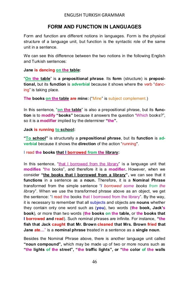 """ENGLISH TURKISH GRAMMAR 47 of my room"""". Such compounds whether they are made up of two or more nouns (infinite), are treat..."""