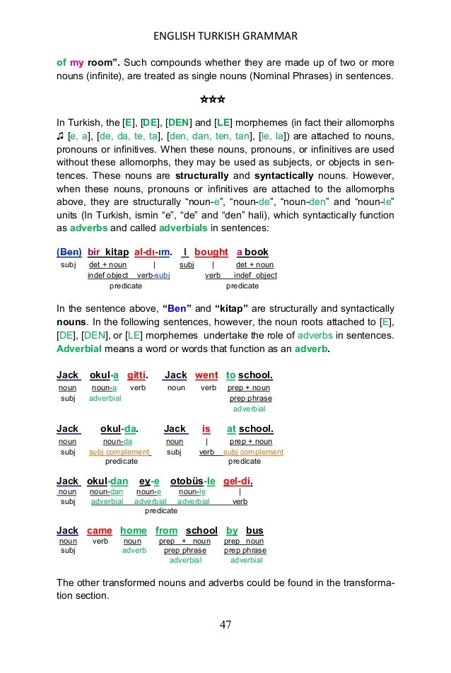 ENGLISH TURKISH GRAMMAR 48 USING ADJECTIVES AS ADVERBS Nearly all adjectives in Turkish can be used as adverbs without cha...