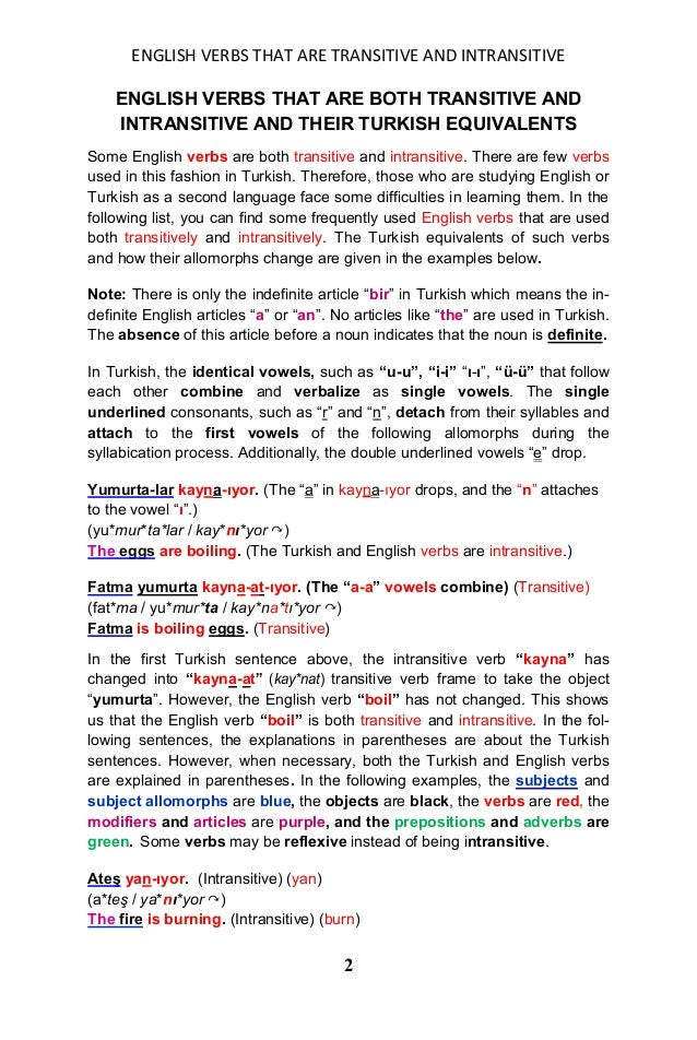 English verbs that are both transitive and intransitive and their turkish equivalents Slide 2