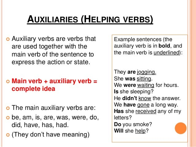 Auxiliary verb examples list | www. Picsbud. Com.