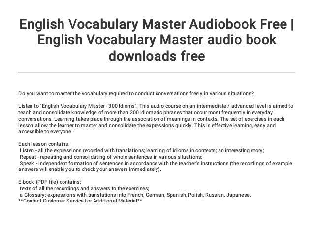 English Vocabulary Master Audiobook Free   English