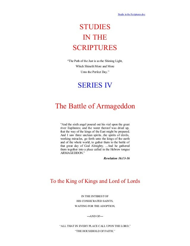 """Studis in the Scriptures.doc               STUDIES                IN THE             SCRIPTURES         """"The Path of the J..."""