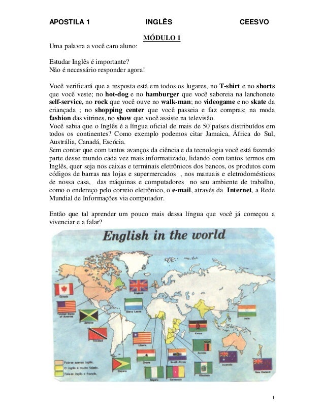 APOSTILA 1 INGLÊS CEESVO 1 MÓDULO 1 Uma palavra a você caro aluno: Estudar Inglês é importante? Não é necessário responder...