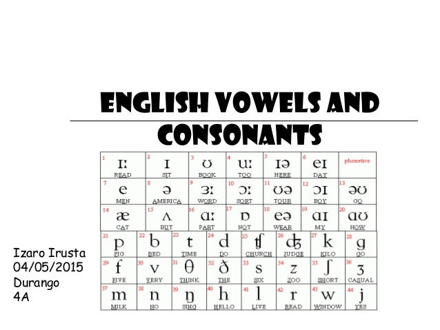 english culture consonants and vowels