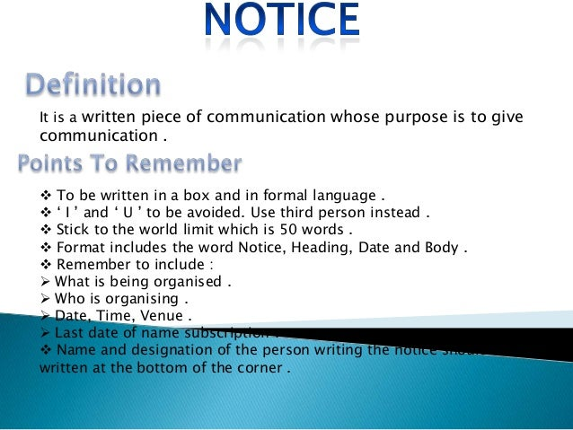 Format Of Notice Writing For Class  Image Gallery  Hcpr
