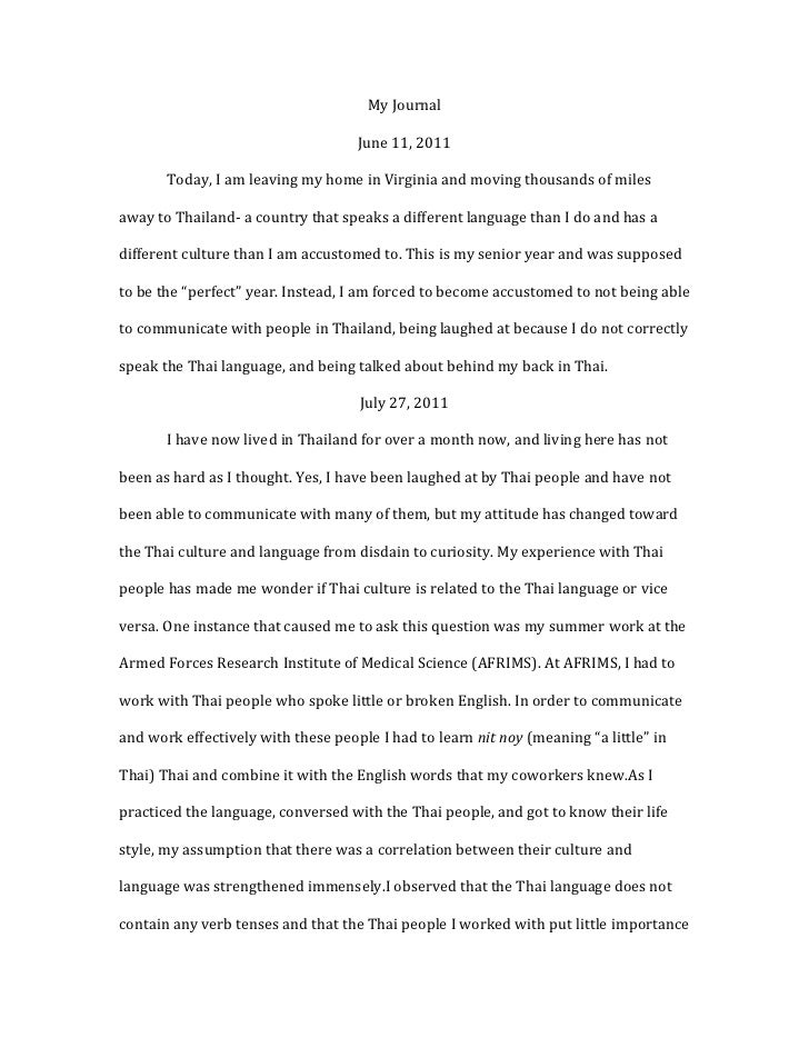 My Journal                                    June 11, 2011       Today, I am leaving my home in Virginia and moving thous...
