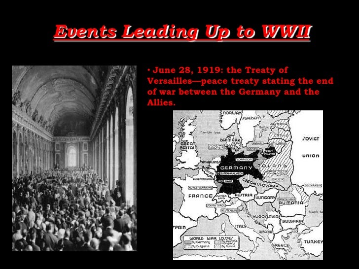Events Leading Up to WWII<br /><ul><li>June 28, 1919: the Treaty of Versailles—peace treaty stating the end of war between...