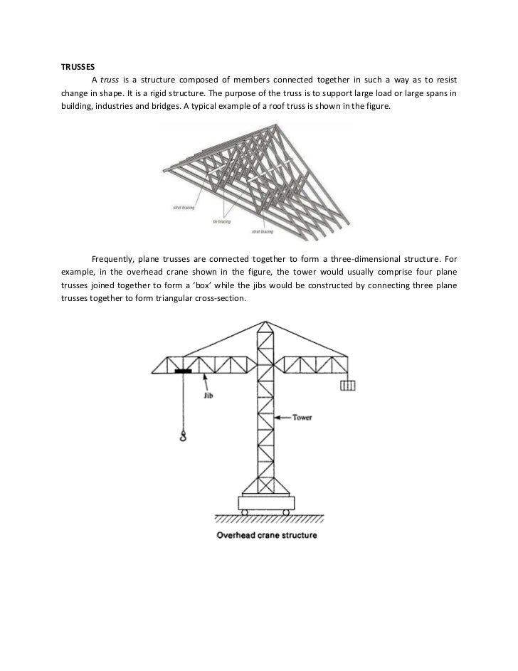 TRUSSES        A truss is a structure composed of members connected together in such a way as to resistchange in shape. It...