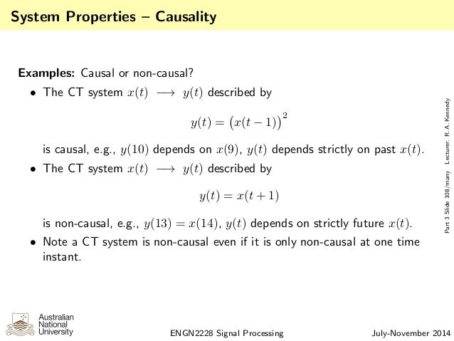 Examples of non causal systems.