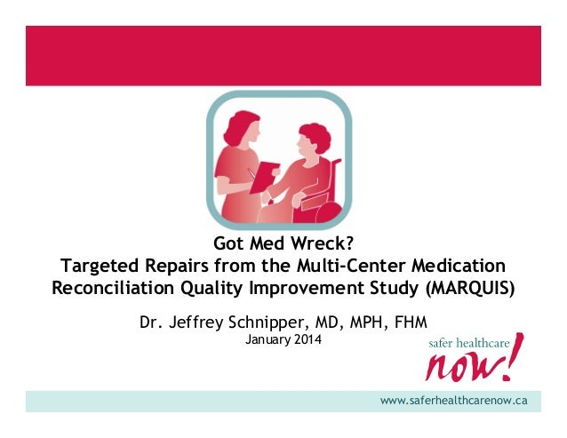 Got Med Wreck? Targeted Repairs from the Multi-Center Medication Reconciliation Quality Improvement Study (MARQUIS) Dr. Je...