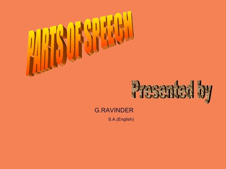 PARTS OF SPEECH Presented by G.RAVINDER  S.A.(English)