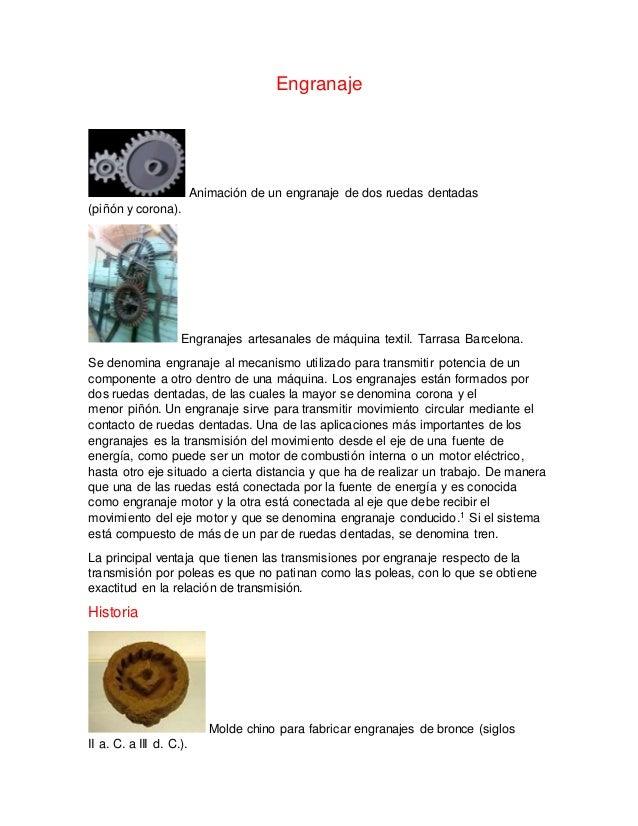 Engranaje  Animación de un engranaje de dos ruedas dentadas  (piñón y corona).  Engranajes artesanales de máquina textil. ...