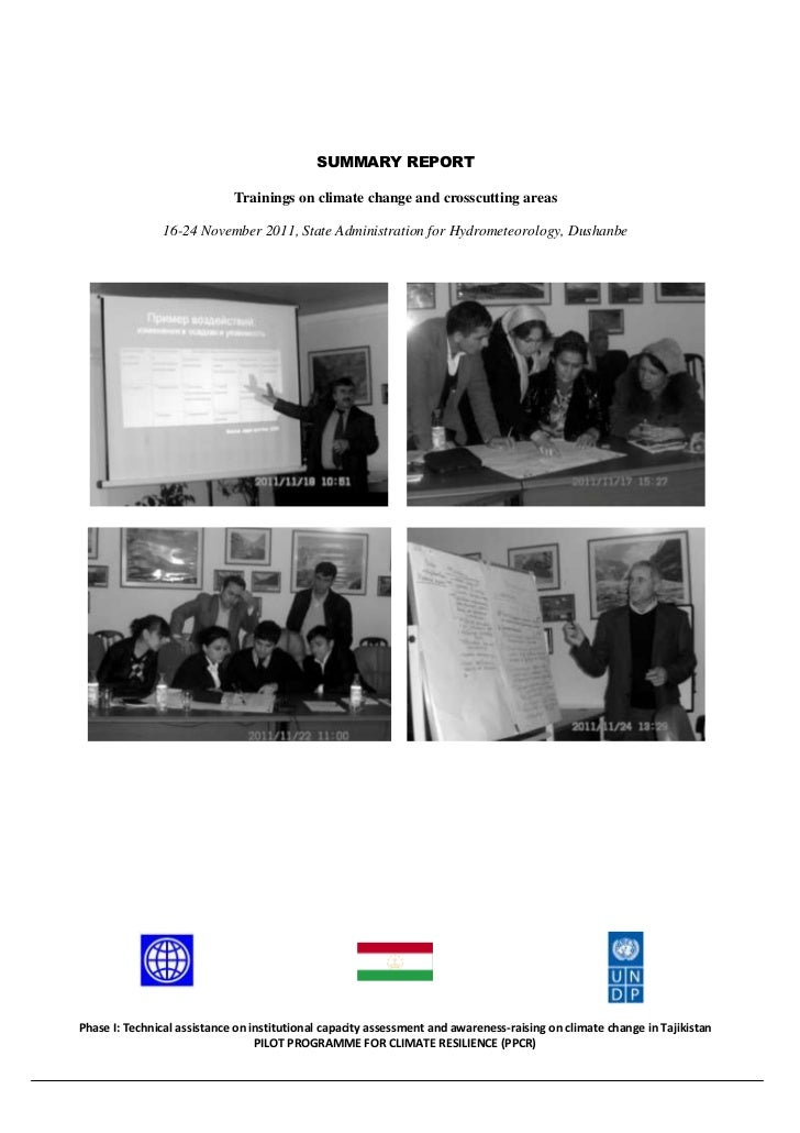 SUMMARY REPORT                             Trainings on climate change and crosscutting areas               16-24 November...
