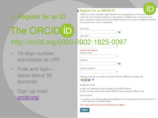 The ORCID http://orcid.org/0000-0002-1825-0097 • 16-digit number, expressed as URI • Free and fast— takes about 30 seconds...