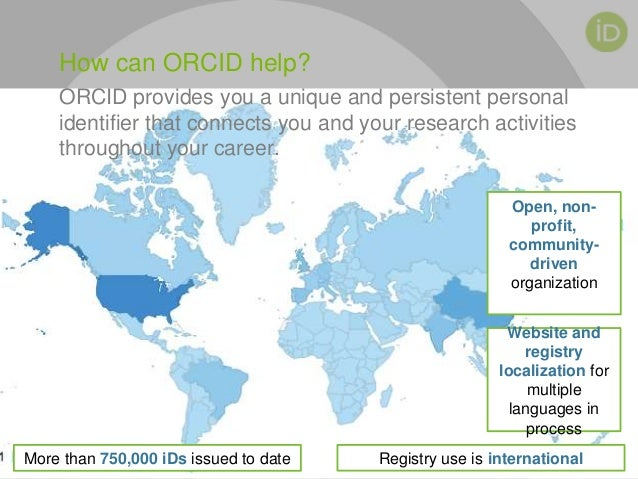 ORCID provides you a unique and persistent personal identifier that connects you and your research activities throughout y...
