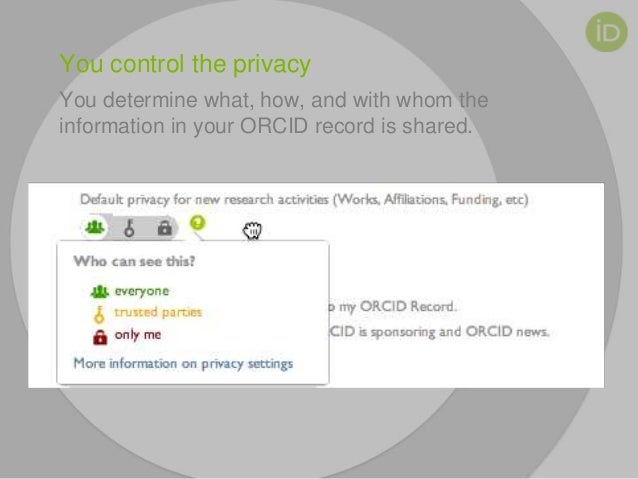 You control the privacy You determine what, how, and with whom the information in your ORCID record is shared.