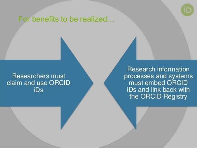For benefits to be realized… Researchers must claim and use ORCID iDs Research information processes and systems must embe...