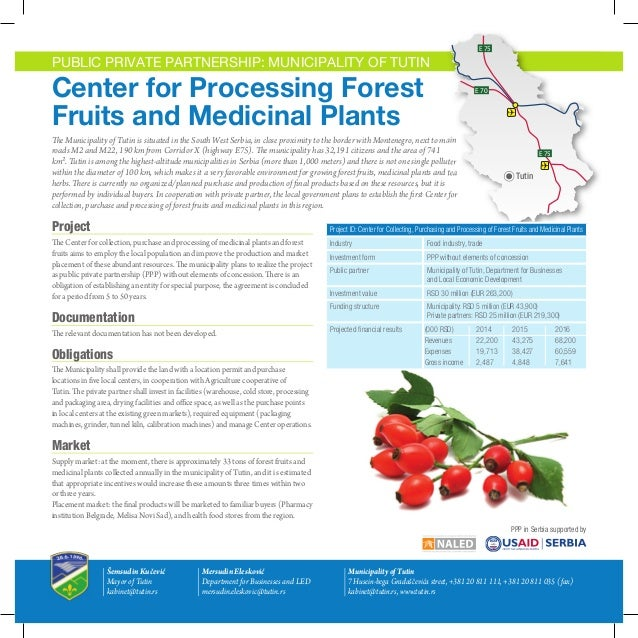 E 75  E 75  E 75  PUBLIC PRIVATE PARTNERSHIP: MUNICIPALITY OF TUTIN  Center for Processing Forest Fruits and Medicinal Pla...