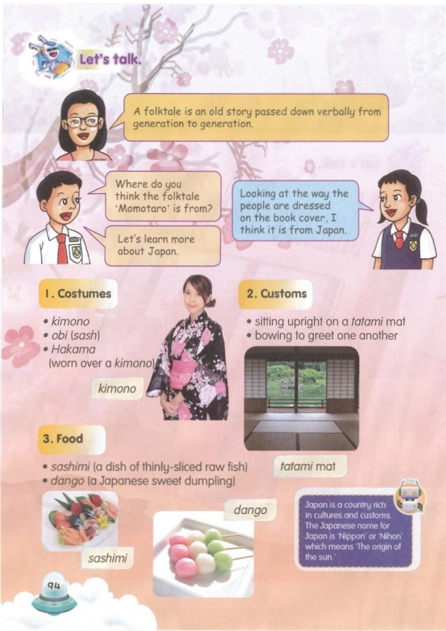 Give a short talk on Japan to your class. They are _!_, ./ and /'. -' - Canyou namesome of the customs in Japan? 1.2.4, 1....