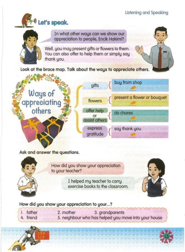 -- How did you show your appreciation to your... ? ~ ' I. father 2. mother 3. grandparents 4. friend 5. neighbour who has ...
