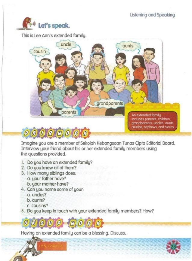- Having an extended family can be a blessing. Discuss. Imagine you are a member of Sekolah Kebangsaan Tunas Cipta Editori...