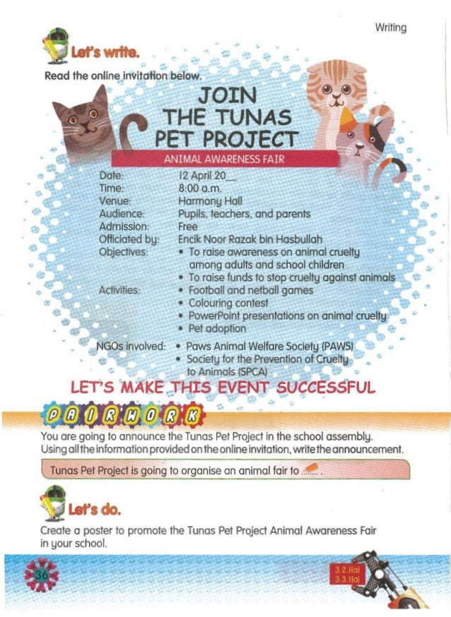 Create a poster to promote the Tunas Pet Project Animal Awareness Fair in your school. let's do. Tunas Pet Project is goin...