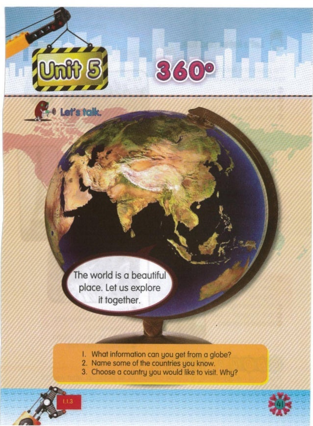 I. What information can you get from a globe? 2. Name some of the countries you know. 3. Choose a country you would like t...