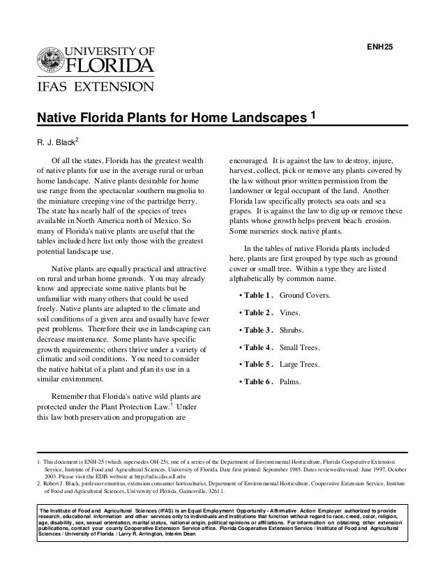 ENH25Native Florida Plants for Home Landscapes 1R. J. Black2     Of all the states, Florida has the greatest wealth       ...