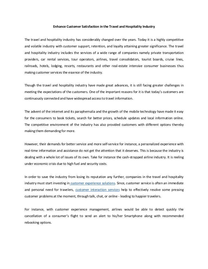 Topics For An Essay Paper Enhance Customer Satisfaction In The Travel And Hospitality Industrythe  Travel And Hospitality Industry Has Considerably C  An Essay About Health also English Essay My Best Friend Enhance Customer Satisfaction In The Travel And Hospitality Industry Narrative Essay Topics For High School
