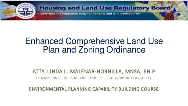 Enhanced Comprehensive Land Use Plan and Zoning Ordinance ATTY. LINDA L. MALENAB-HORNILLA, MNSA, EN.P COMMISSIONER, HOUSIN...