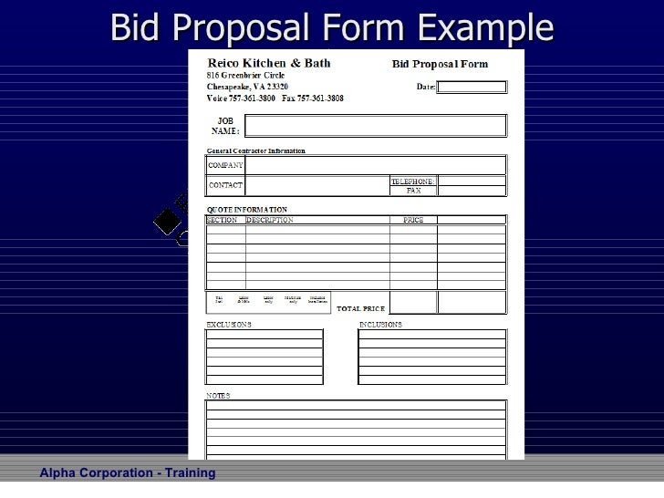 Bid Proposal Form  Bid Proposal Forms