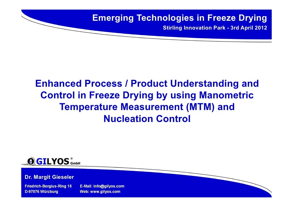 Emerging Technologies in Freeze Drying                                                      Stirling Innovation Park - 3rd...