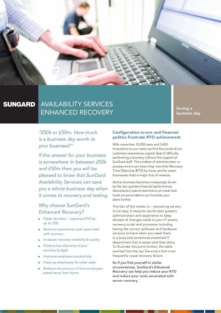 AVAILABILITY SERVICES                                                                    Saving a ENHANCED RECOVERY       ...