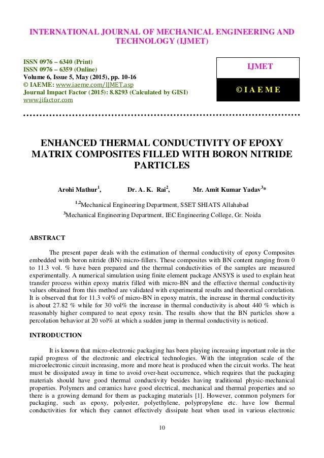 Enhanced Thermal Conductivity Of Epoxy Matrix Composites