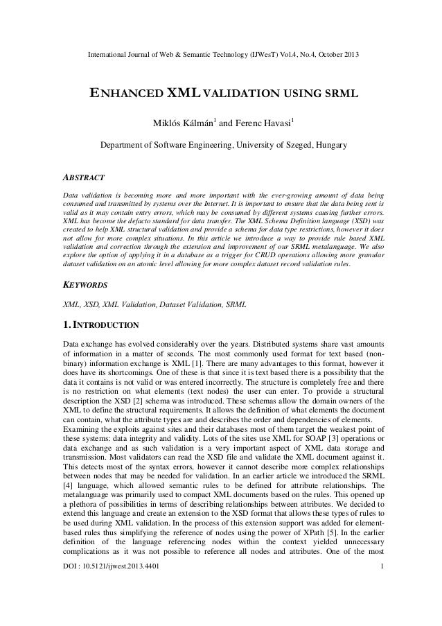 International Journal of Web & Semantic Technology (IJWesT) Vol.4, No.4, October 2013  ENHANCED XML VALIDATION USING SRML ...
