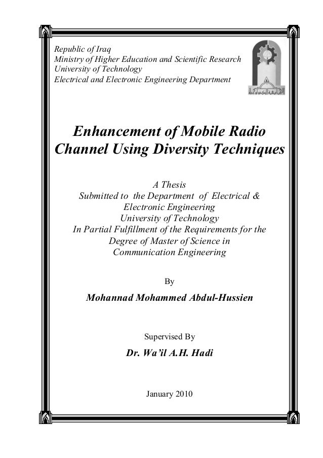Enhancement of Mobile Radio Channel Using Diversity Techniques A Thesis Submitted to the Department of Electrical & Electr...