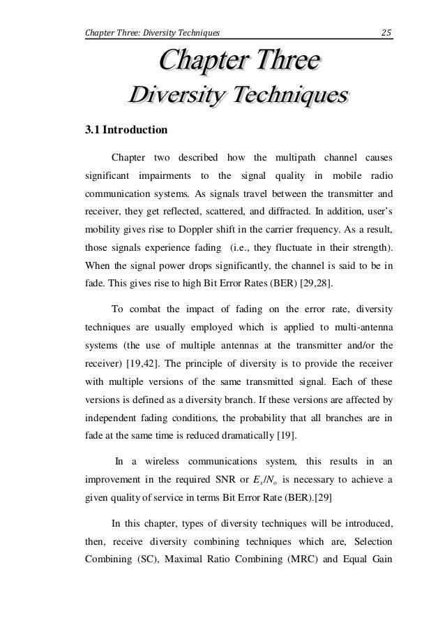 Enhancement of Mobile Radio Channel Using Diversity Techniques