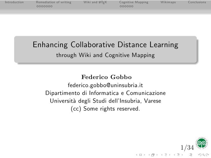 Introduction   Remediation of writing   Wiki and L TEX   Cognitive Mapping   Wikimaps     Conclusions                     ...