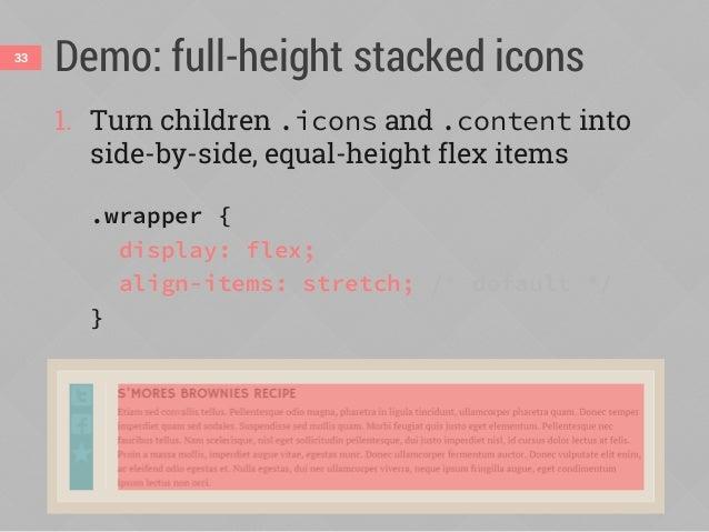 align-items34 aligns flex items in cross axis flex-start flex-end center baseline stretch (default) foo foo foo (justify-c...
