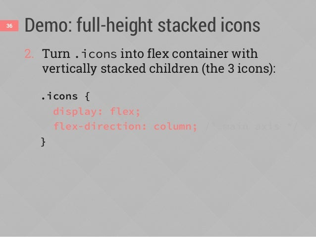 Demo: full-height stacked icons 3. Equally space the 3 icons along the vertical main axis: .icons { display: flex; flex-di...