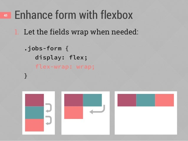 Enhance form with flexbox46 2. Override the % widths and use flex instead: /* hide from non-flex browsers */ .flexbox .job...